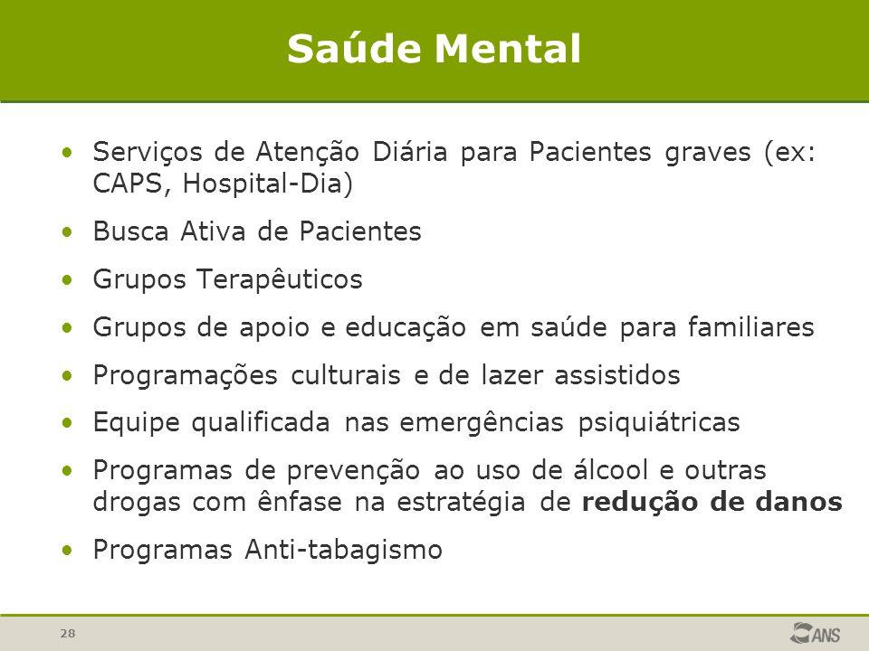 28 Saúde Mental Serviços de Atenção Diária para Pacientes graves (ex: CAPS, Hospital-Dia) Busca Ativa de Pacientes Grupos Terapêuticos Grupos de apoio