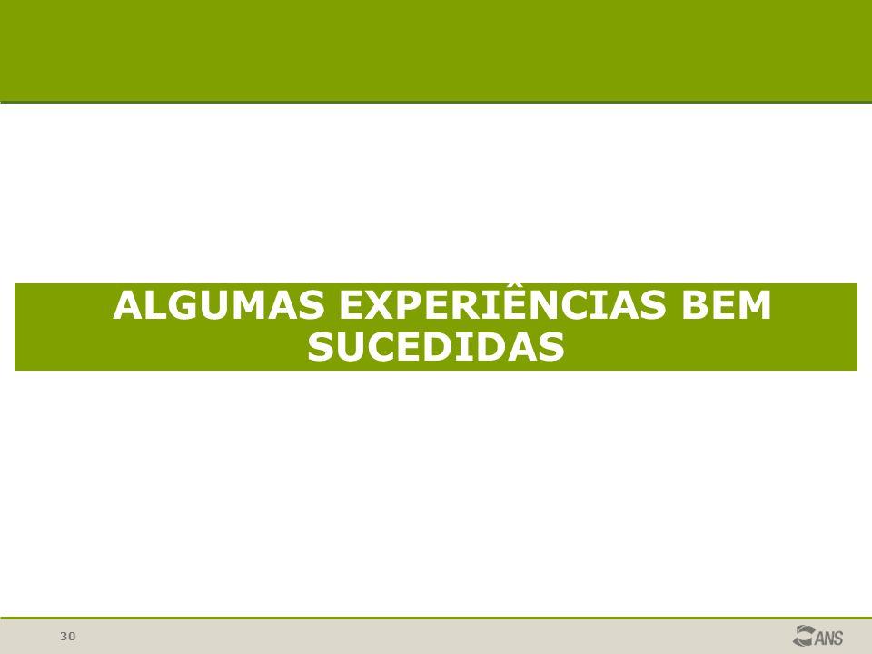 30 ALGUMAS EXPERIÊNCIAS BEM SUCEDIDAS