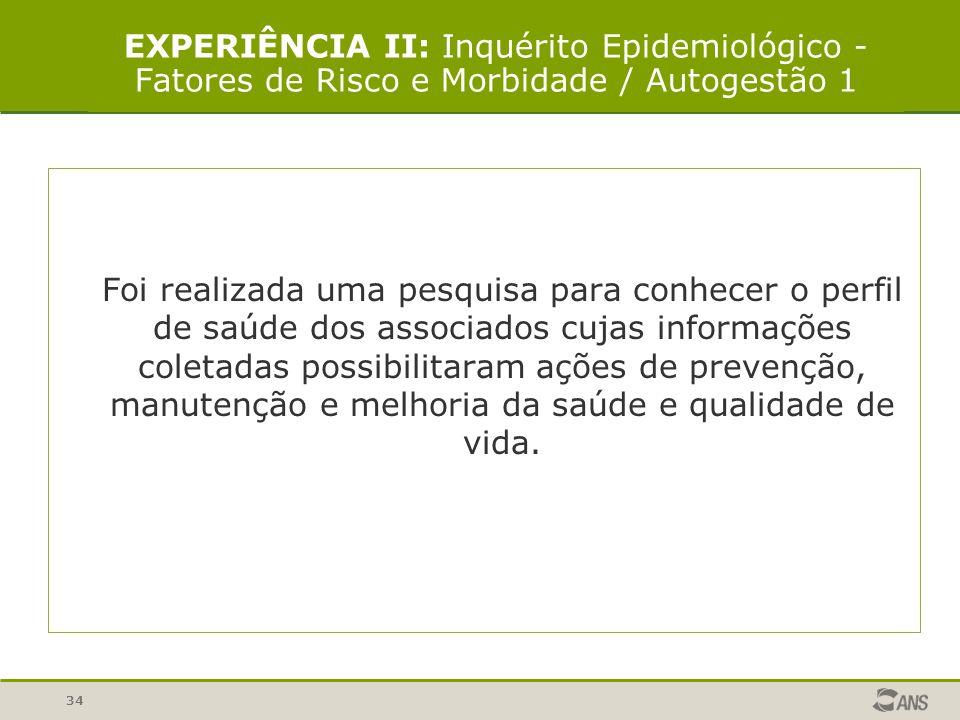 34 EXPERIÊNCIA II: Inquérito Epidemiológico - Fatores de Risco e Morbidade / Autogestão 1 Foi realizada uma pesquisa para conhecer o perfil de saúde d