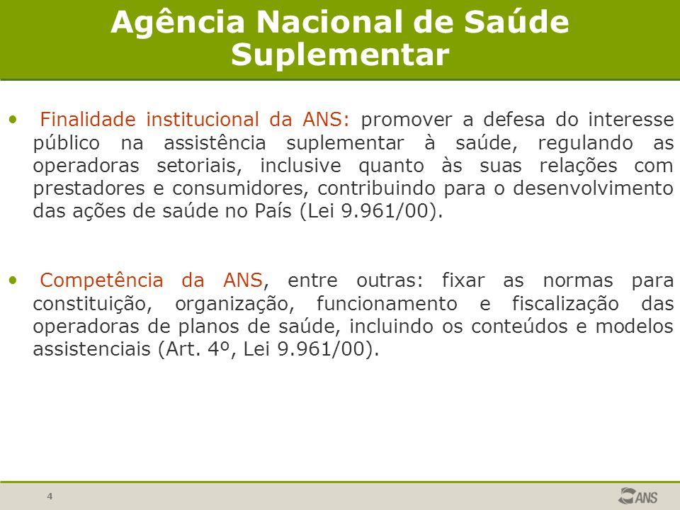 4 Agência Nacional de Saúde Suplementar Finalidade institucional da ANS: promover a defesa do interesse público na assistência suplementar à saúde, re