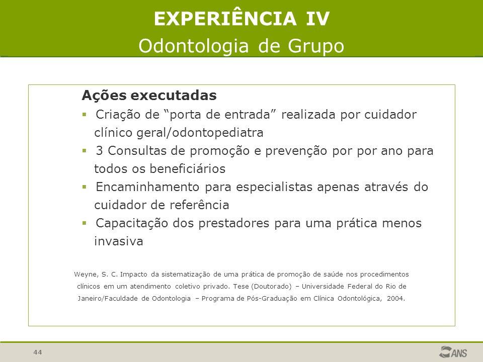 44 EXPERIÊNCIA IV Odontologia de Grupo Ações executadas Criação de porta de entrada realizada por cuidador clínico geral/odontopediatra 3 Consultas de