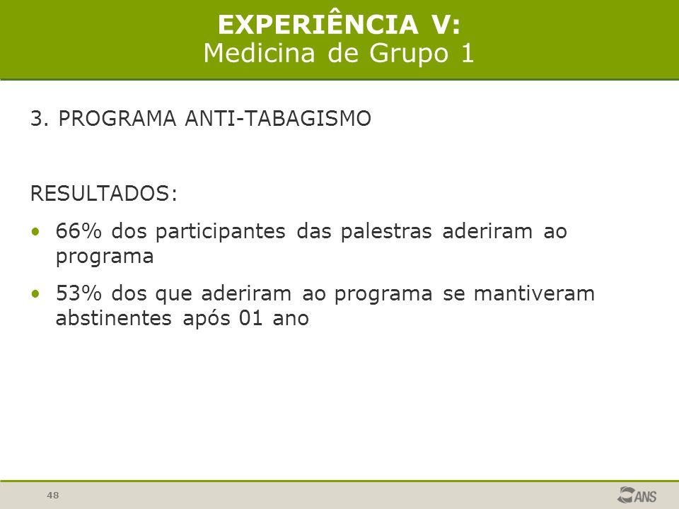 48 EXPERIÊNCIA V: Medicina de Grupo 1 3. PROGRAMA ANTI-TABAGISMO RESULTADOS: 66% dos participantes das palestras aderiram ao programa 53% dos que ader