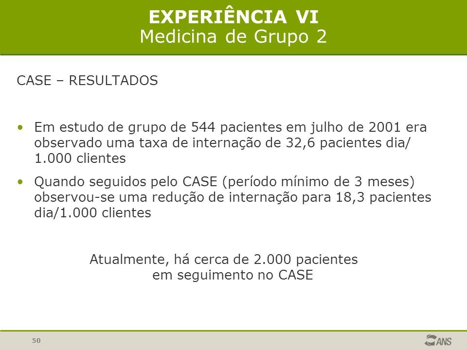 50 EXPERIÊNCIA VI Medicina de Grupo 2 CASE – RESULTADOS Em estudo de grupo de 544 pacientes em julho de 2001 era observado uma taxa de internação de 3