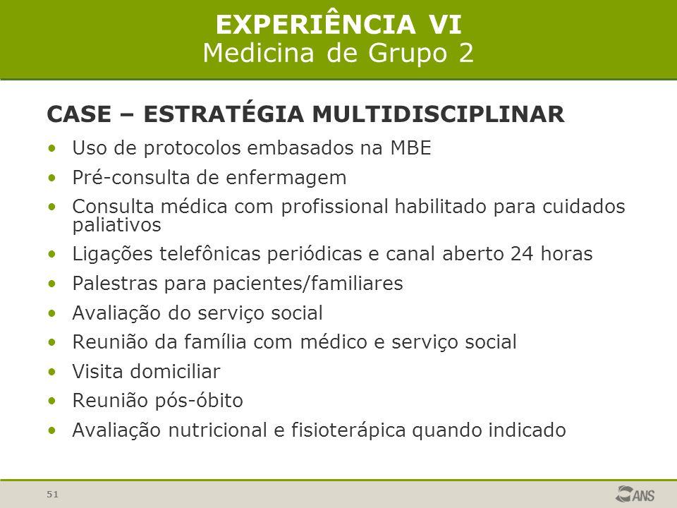 51 EXPERIÊNCIA VI Medicina de Grupo 2 CASE – ESTRATÉGIA MULTIDISCIPLINAR Uso de protocolos embasados na MBE Pré-consulta de enfermagem Consulta médica