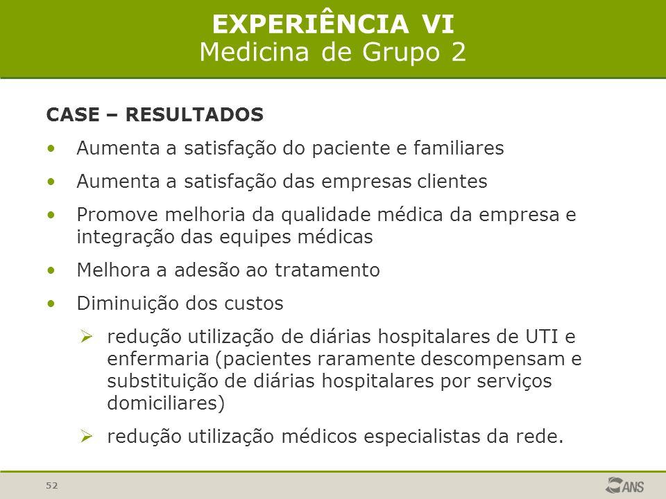 52 EXPERIÊNCIA VI Medicina de Grupo 2 CASE – RESULTADOS Aumenta a satisfação do paciente e familiares Aumenta a satisfação das empresas clientes Promo