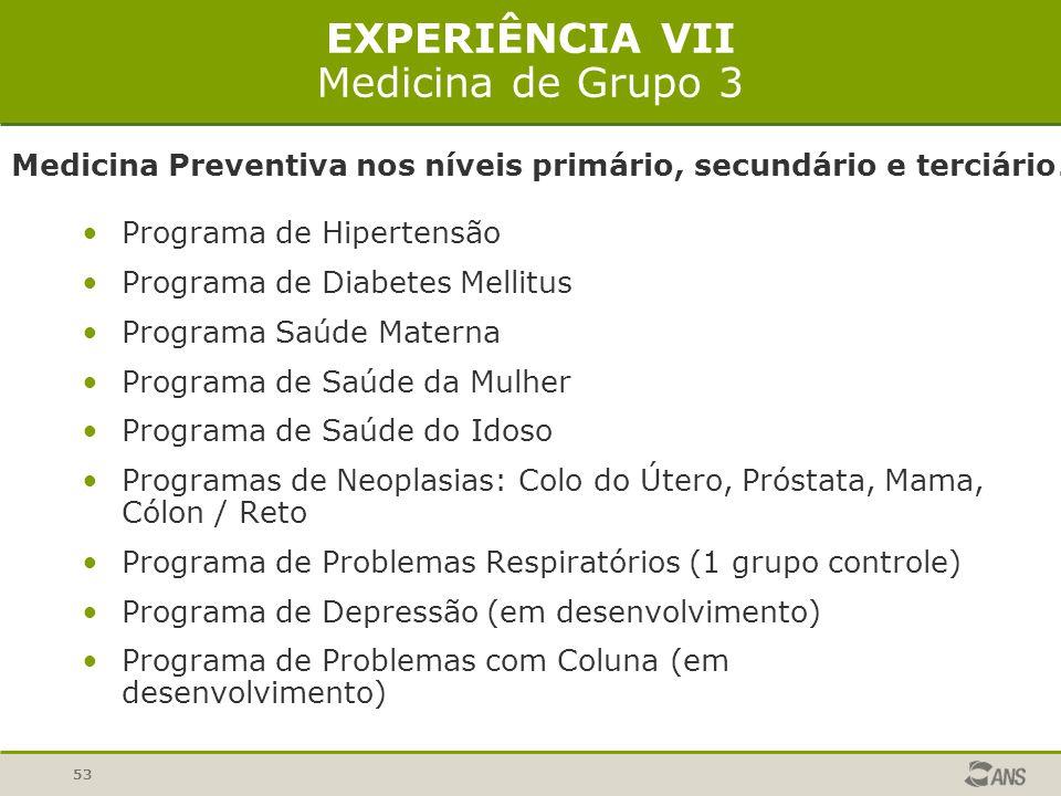 53 EXPERIÊNCIA VII Medicina de Grupo 3 Programa de Hipertensão Programa de Diabetes Mellitus Programa Saúde Materna Programa de Saúde da Mulher Progra