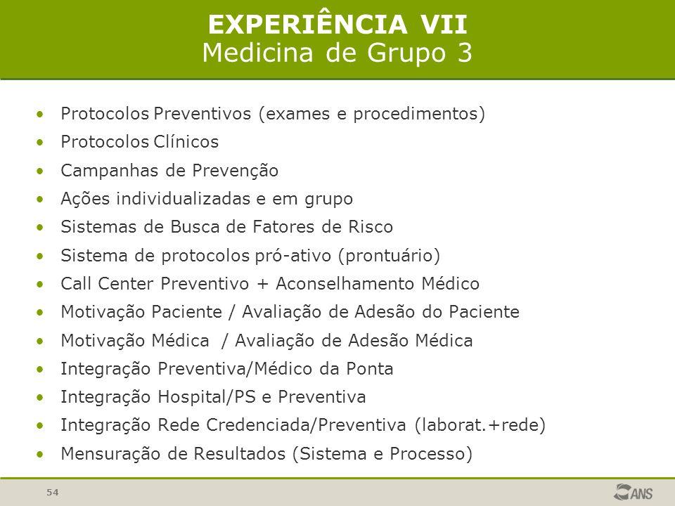 54 EXPERIÊNCIA VII Medicina de Grupo 3 Protocolos Preventivos (exames e procedimentos) Protocolos Clínicos Campanhas de Prevenção Ações individualizadas e em grupo Sistemas de Busca de Fatores de Risco Sistema de protocolos pró-ativo (prontuário) Call Center Preventivo + Aconselhamento Médico Motivação Paciente / Avaliação de Adesão do Paciente Motivação Médica / Avaliação de Adesão Médica Integração Preventiva/Médico da Ponta Integração Hospital/PS e Preventiva Integração Rede Credenciada/Preventiva (laborat.+rede) Mensuração de Resultados (Sistema e Processo)