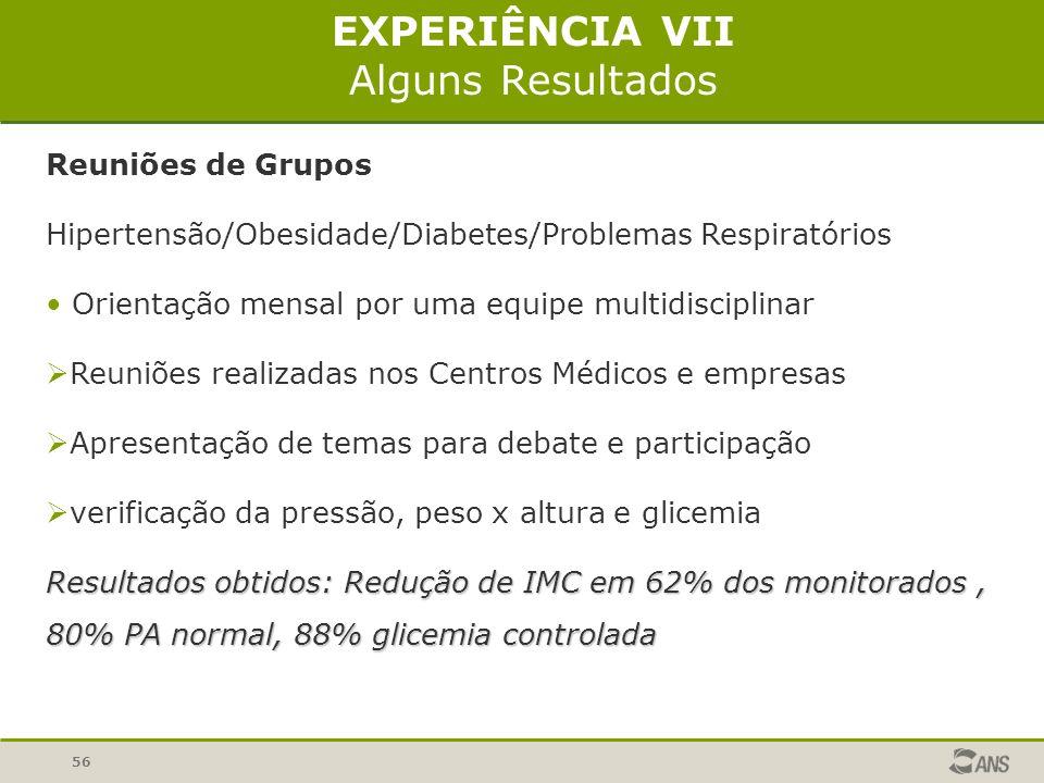 56 Reuniões de Grupos Hipertensão/Obesidade/Diabetes/Problemas Respiratórios Orientação mensal por uma equipe multidisciplinar Reuniões realizadas nos