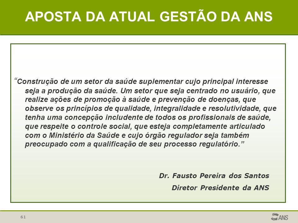 61 APOSTA DA ATUAL GESTÃO DA ANS Construção de um setor da saúde suplementar cujo principal interesse seja a produção da saúde. Um setor que seja cent