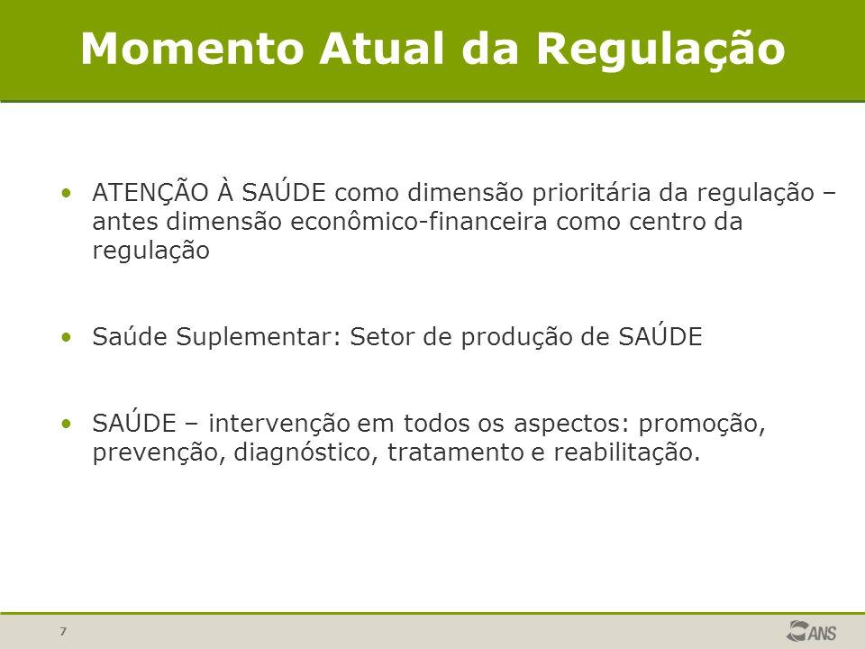 7 Momento Atual da Regulação ATENÇÃO À SAÚDE como dimensão prioritária da regulação – antes dimensão econômico-financeira como centro da regulação Saú