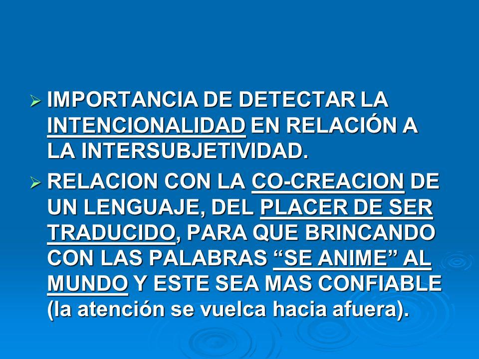 IMPORTANCIA DE DETECTAR LA INTENCIONALIDAD EN RELACIÓN A LA INTERSUBJETIVIDAD. IMPORTANCIA DE DETECTAR LA INTENCIONALIDAD EN RELACIÓN A LA INTERSUBJET