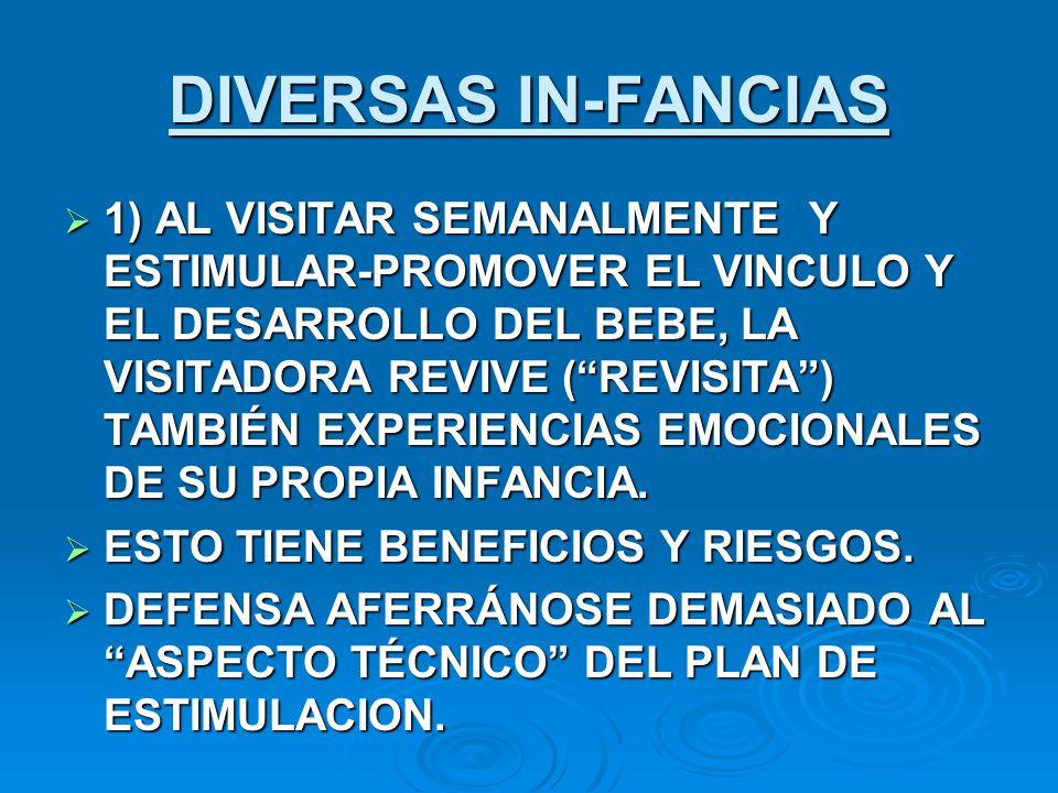 DIVERSAS IN-FANCIAS 1) AL VISITAR SEMANALMENTE Y ESTIMULAR-PROMOVER EL VINCULO Y EL DESARROLLO DEL BEBE, LA VISITADORA REVIVE (REVISITA) TAMBIÉN EXPER