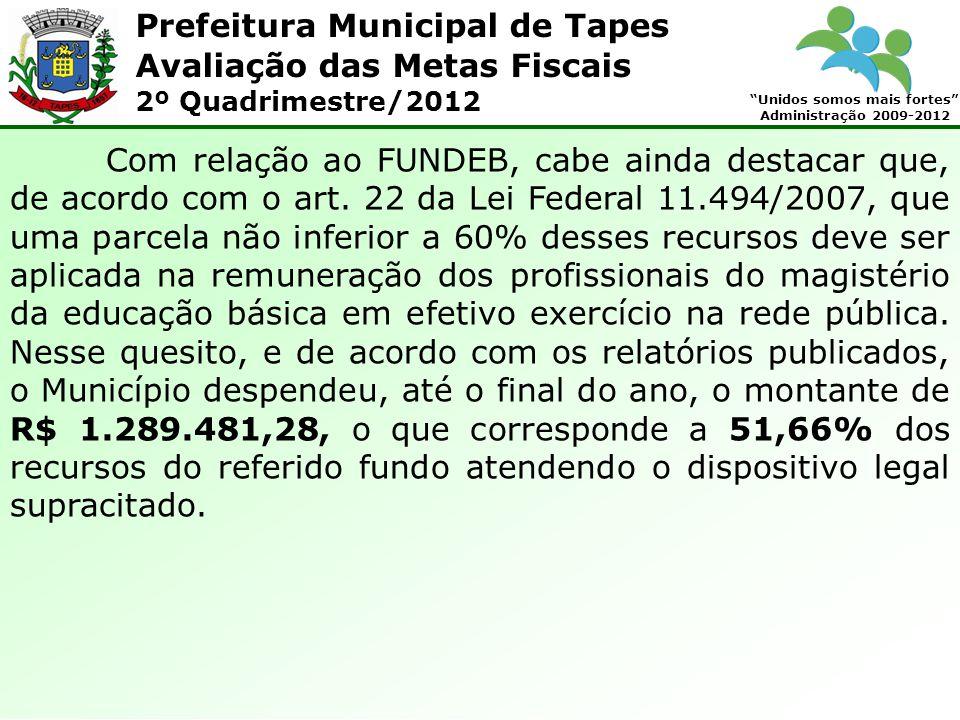 Prefeitura Municipal de Tapes Unidos somos mais fortes Administração 2009-2012 Avaliação das Metas Fiscais 2º Quadrimestre/2012 Com relação ao FUNDEB, cabe ainda destacar que, de acordo com o art.