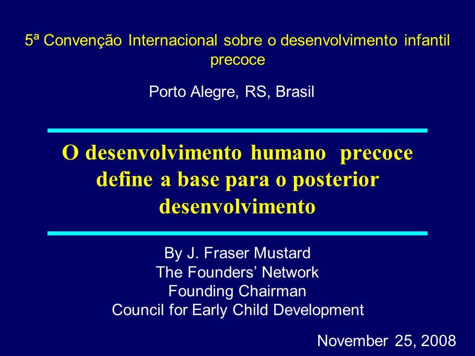 O desenvolvimento humano precoce estabelece trajetórias para o desenvolvimento posterior da saúde (física e mental), o aprendizado e o comportamento.