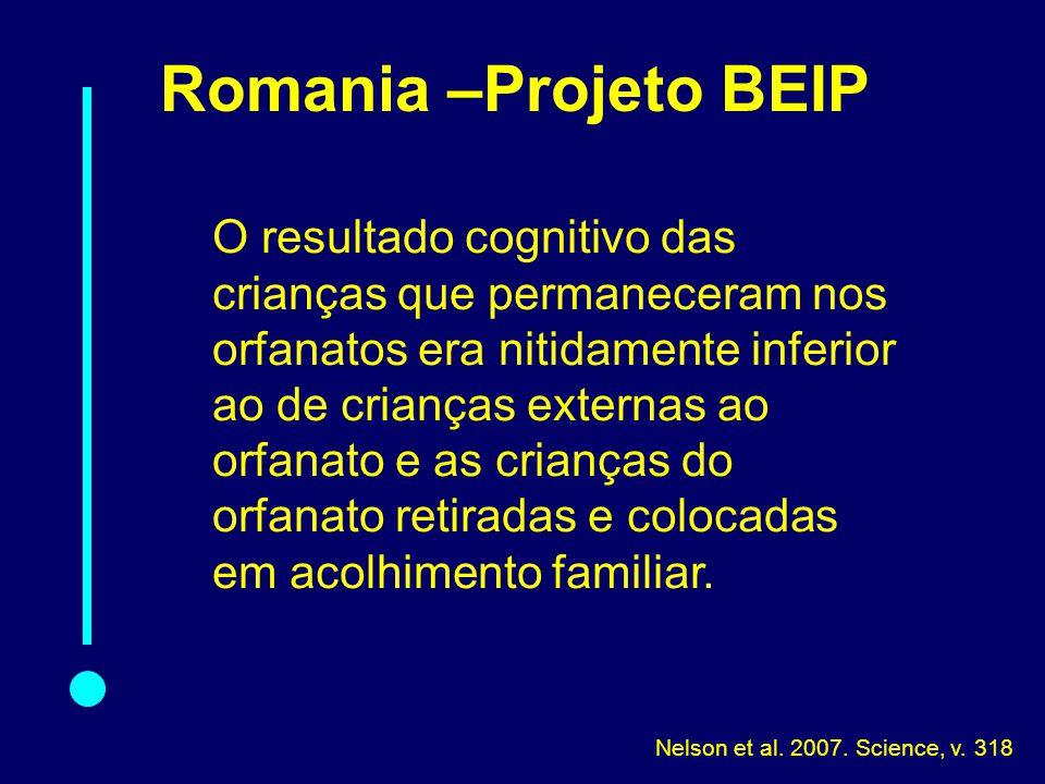 Romania –Projeto BEIP O resultado cognitivo das crianças que permaneceram nos orfanatos era nitidamente inferior ao de crianças externas ao orfanato e as crianças do orfanato retiradas e colocadas em acolhimento familiar.