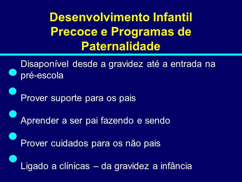 Desenvolvimento Infantil Precoce e Programas de Paternalidade Disaponível desde a gravidez até a entrada na pré-escola Prover suporte para os pais Apr