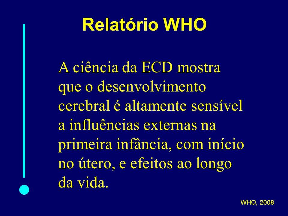 Relatório WHO A ciência da ECD mostra que o desenvolvimento cerebral é altamente sensível a influências externas na primeira infância, com início no útero, e efeitos ao longo da vida.