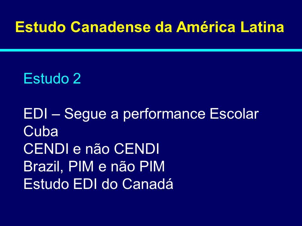 Estudo Canadense da América Latina Estudo 2 EDI – Segue a performance Escolar Cuba CENDI e não CENDI Brazil, PIM e não PIM Estudo EDI do Canadá 08-145