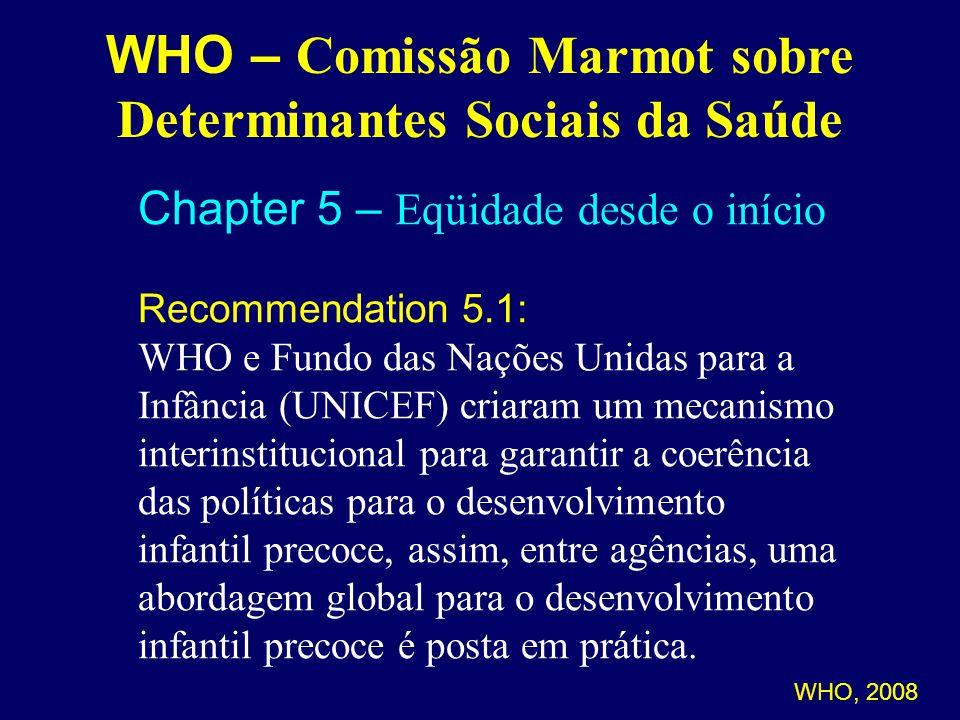 WHO – Comissão Marmot sobre Determinantes Sociais da Saúde Chapter 5 – Eqüidade desde o início Recommendation 5.1: WHO e Fundo das Nações Unidas para