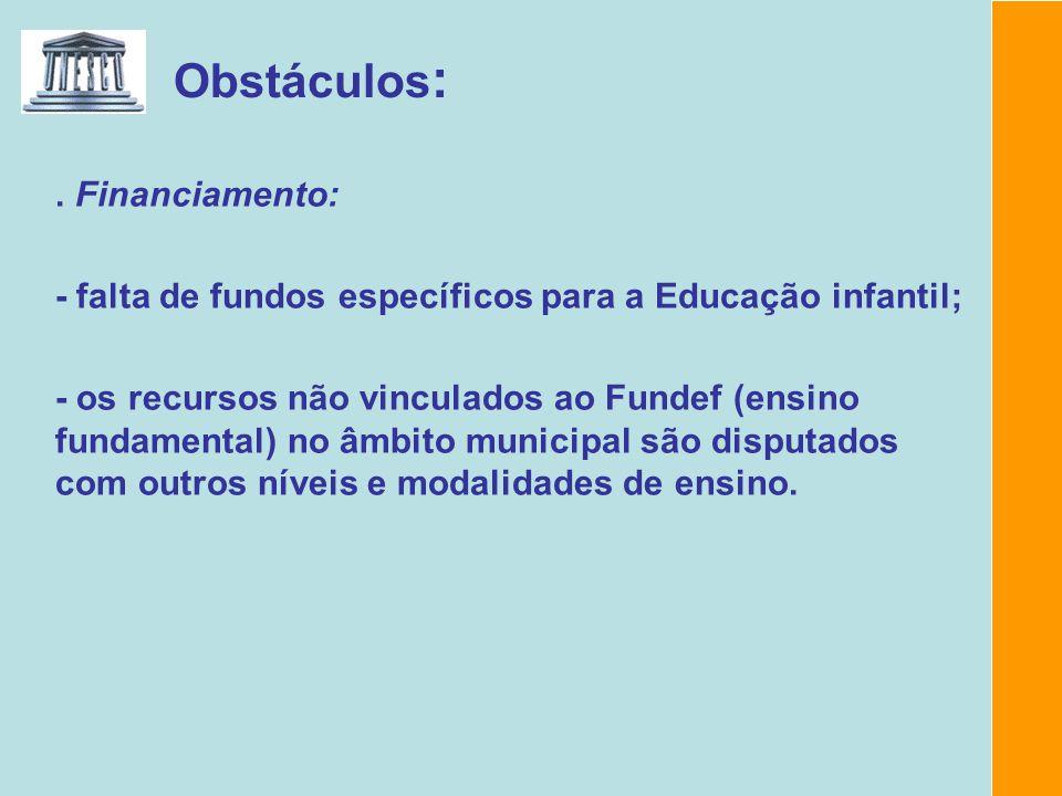 Obstáculos :. Financiamento: - falta de fundos específicos para a Educação infantil; - os recursos não vinculados ao Fundef (ensino fundamental) no âm