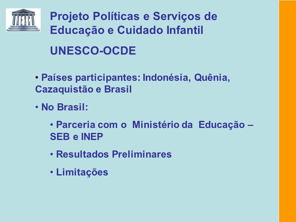 Projeto Políticas e Serviços de Educação e Cuidado Infantil UNESCO-OCDE Países participantes: Indonésia, Quênia, Cazaquistão e Brasil No Brasil: Parce