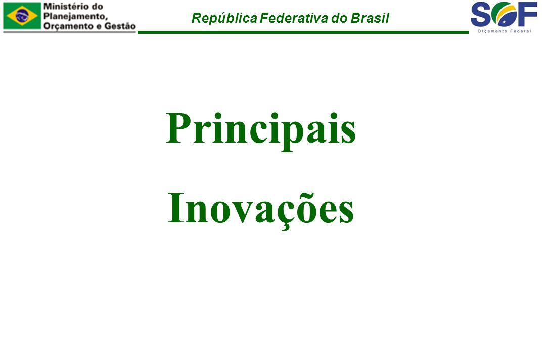 República Federativa do Brasil Principais Inovações