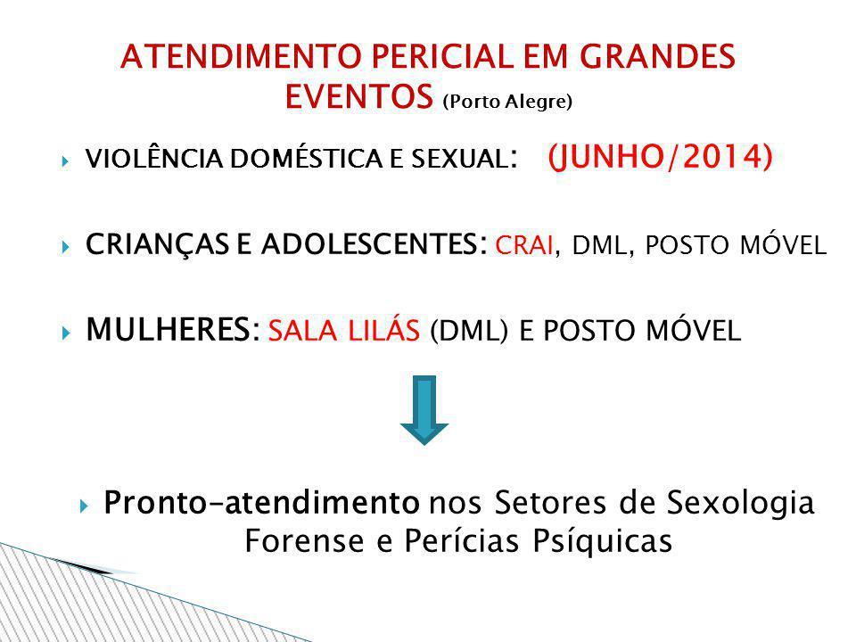 VIOLÊNCIA DOMÉSTICA E SEXUAL : (JUNHO/2014) CRIANÇAS E ADOLESCENTES : CRAI, DML, POSTO MÓVEL MULHERES: SALA LILÁS (DML) E POSTO MÓVEL Pronto–atendimen