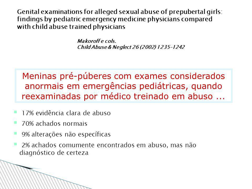 Genital examinations for alleged sexual abuse of prepubertal girls: findings by pediatric emergency medicine physicians compared with child abuse trained physicians Makoroff e cols.