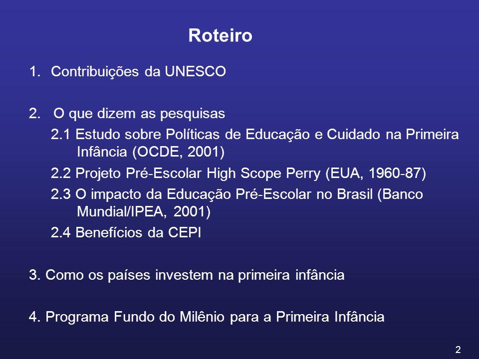 3 A UNESCO é a agência especializada das Nações Unidas para a Educação, a Ciência e a Cultura Criada em 16 de novembro de 1945 Se as guerras nascem na mente dos homens, é na mente dos homens que devem ser erguidas as defesas da paz Agência de Cooperação Técnica 190 Estados-Membros UNESCOBRAZIL