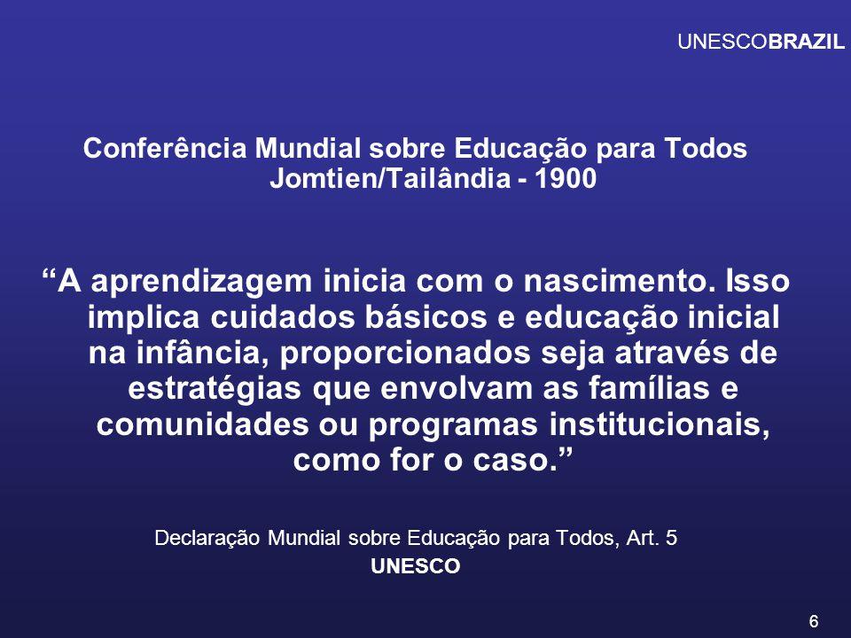 7 Fórum Mundial de Educação para Todos Dacar - 2000 Definiu metas para a década: A expansão e o aprimoramento da assistência e educação na primeira infância, especialmente para as crianças mais vulneráveis e desfavorecidas.