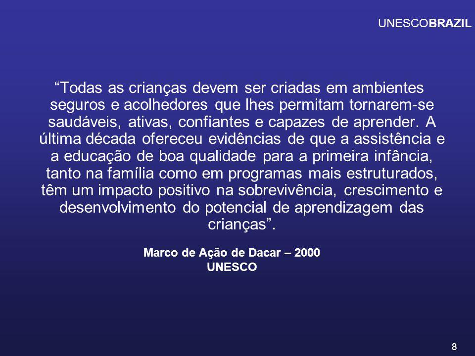 9 A UNESCO tem orientado sua ação para a difusão da importância de uma educação infantil de qualidade desde os primeiros anos de vida.
