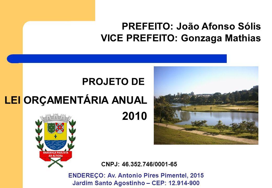 CNPJ: 46.352.746/0001-65 PREFEITO: João Afonso Sólis VICE PREFEITO: Gonzaga Mathias ENDEREÇO: Av.