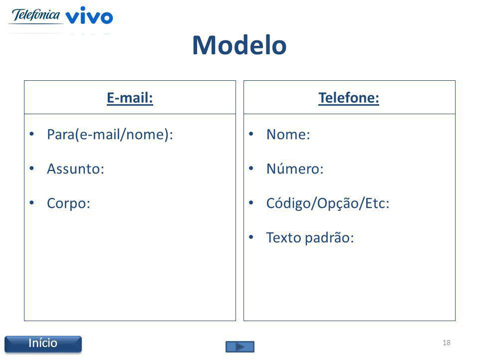 Modelo E-mail: Para(e-mail/nome): Assunto: Corpo: Telefone: Nome: Número: Código/Opção/Etc: Texto padrão: 18 Início
