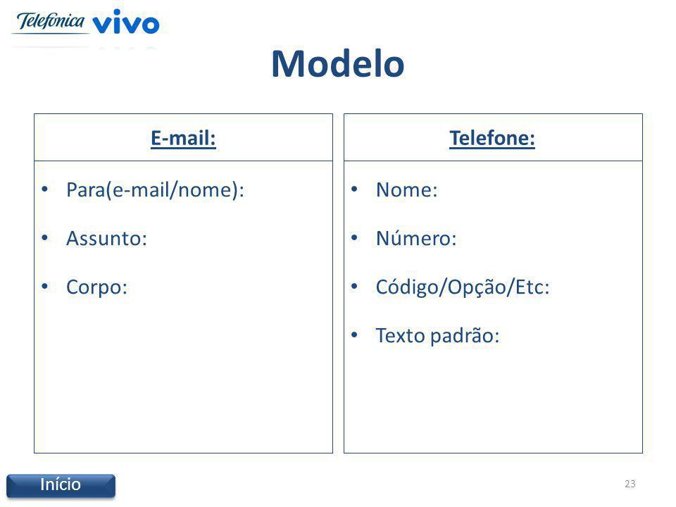 Modelo E-mail: Para(e-mail/nome): Assunto: Corpo: Telefone: Nome: Número: Código/Opção/Etc: Texto padrão: 23 Início