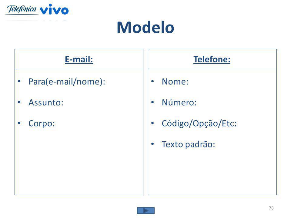 Modelo E-mail: Para(e-mail/nome): Assunto: Corpo: Telefone: Nome: Número: Código/Opção/Etc: Texto padrão: 78