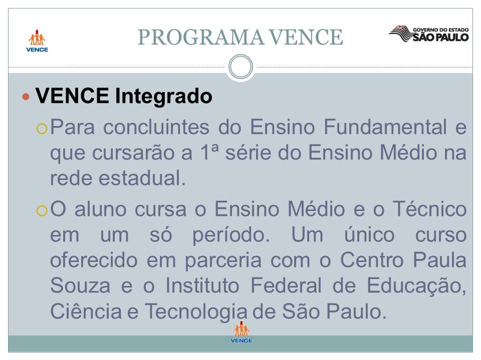 PROGRAMA VENCE VENCE Integrado Para concluintes do Ensino Fundamental e que cursarão a 1ª série do Ensino Médio na rede estadual.