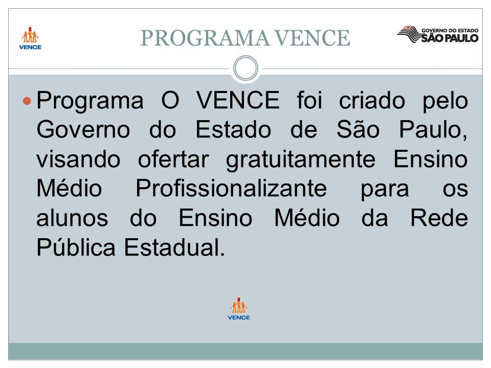 PROGRAMA VENCE Programa O VENCE foi criado pelo Governo do Estado de São Paulo, visando ofertar gratuitamente Ensino Médio Profissionalizante para os alunos do Ensino Médio da Rede Pública Estadual.