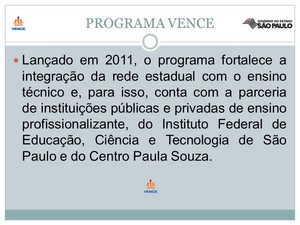 PROGRAMA VENCE Lançado em 2011, o programa fortalece a integração da rede estadual com o ensino técnico e, para isso, conta com a parceria de instituições públicas e privadas de ensino profissionalizante, do Instituto Federal de Educação, Ciência e Tecnologia de São Paulo e do Centro Paula Souza.