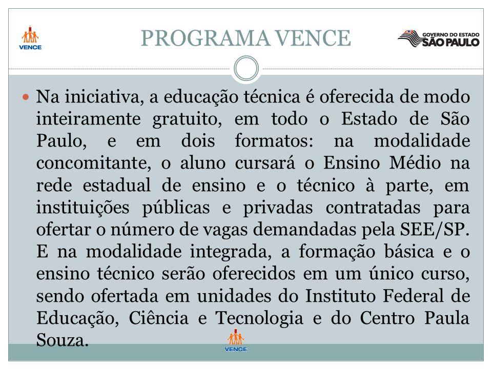 PROGRAMA VENCE Na iniciativa, a educação técnica é oferecida de modo inteiramente gratuito, em todo o Estado de São Paulo, e em dois formatos: na modalidade concomitante, o aluno cursará o Ensino Médio na rede estadual de ensino e o técnico à parte, em instituições públicas e privadas contratadas para ofertar o número de vagas demandadas pela SEE/SP.