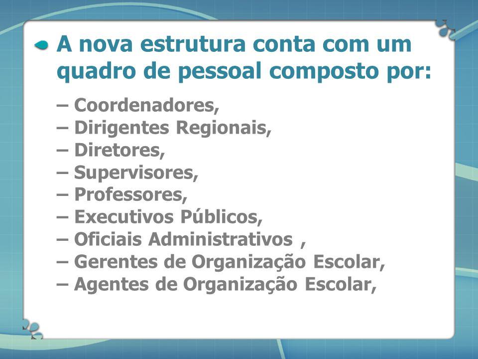 A SEE-SP conta hoje com uma estrutura organizacional com: – Coordenadorias, – Departamentos, – Diretorias de Ensino, – Centros, – Núcleos, – Unidades