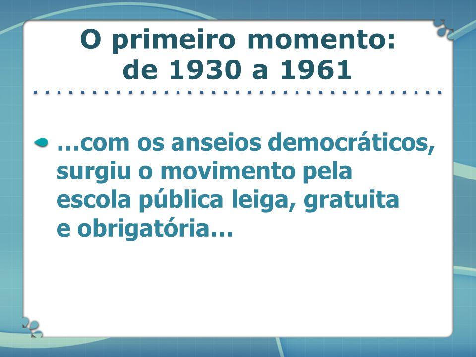 O primeiro momento: de 1930 a 1961 …com os anseios democráticos, surgiu o movimento pela escola pública leiga, gratuita e obrigatória…