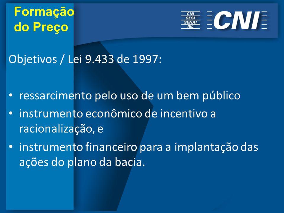 Objetivos / Lei 9.433 de 1997: ressarcimento pelo uso de um bem público instrumento econômico de incentivo a racionalização, e instrumento financeiro para a implantação das ações do plano da bacia.