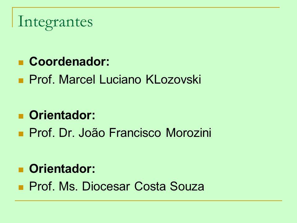 Integrantes Coordenador: Prof. Marcel Luciano KLozovski Orientador: Prof. Dr. João Francisco Morozini Orientador: Prof. Ms. Diocesar Costa Souza