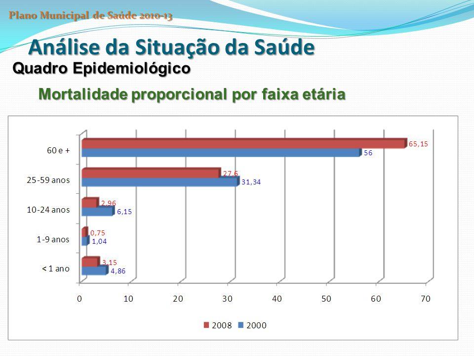 Análise da Situação da Saúde Quadro Epidemiológico Mortalidade proporcional por faixa etária Plano Municipal de Saúde 2010-13