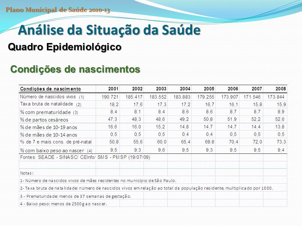 Análise da Situação da Saúde Quadro Epidemiológico Condições de nascimentos Plano Municipal de Saúde 2010-13