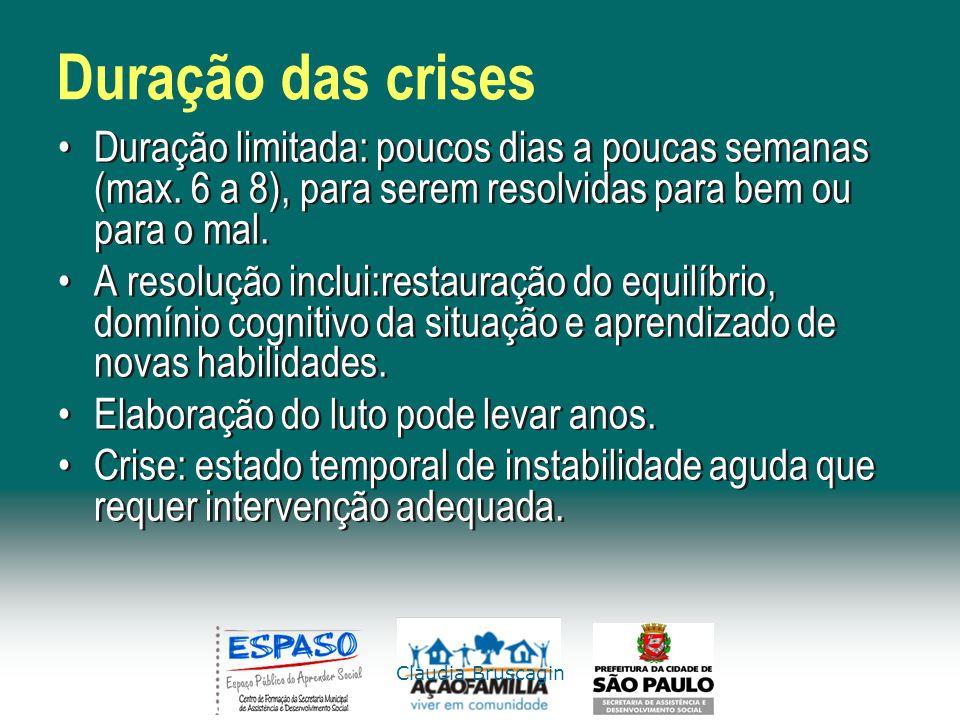Claudia Bruscagin Duração das crises Duração limitada: poucos dias a poucas semanas (max. 6 a 8), para serem resolvidas para bem ou para o mal. A reso