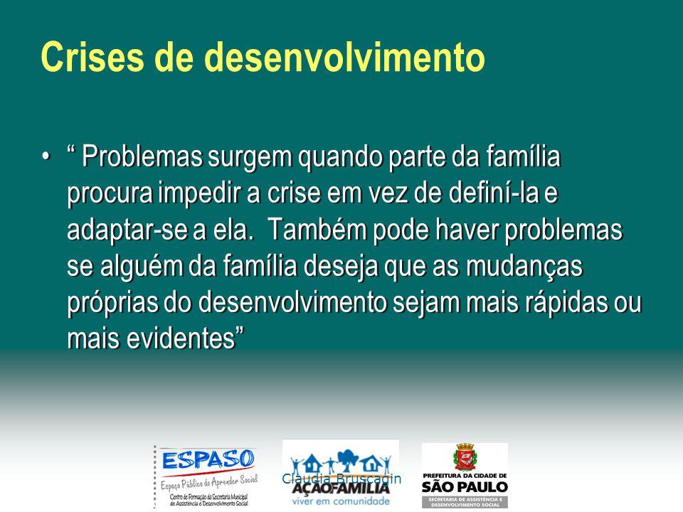 Claudia Bruscagin Crises de desenvolvimento Problemas surgem quando parte da família procura impedir a crise em vez de definí-la e adaptar-se a ela. T