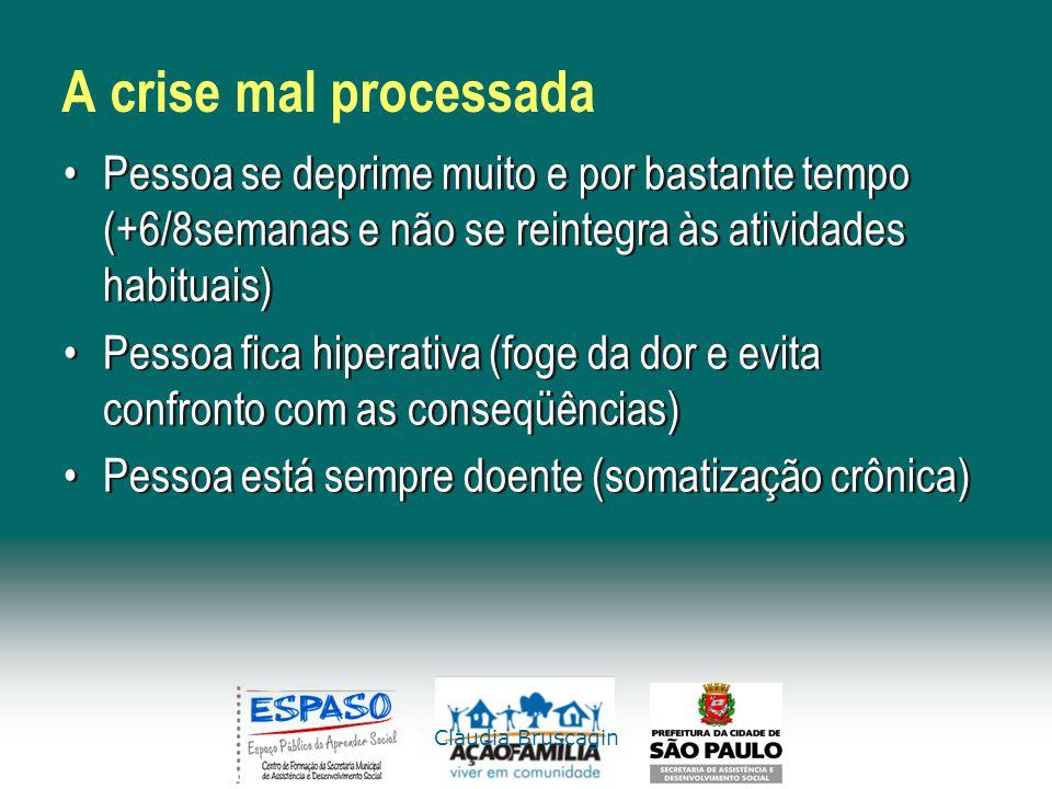 Claudia Bruscagin A crise mal processada Pessoa se deprime muito e por bastante tempo (+6/8semanas e não se reintegra às atividades habituais) Pessoa