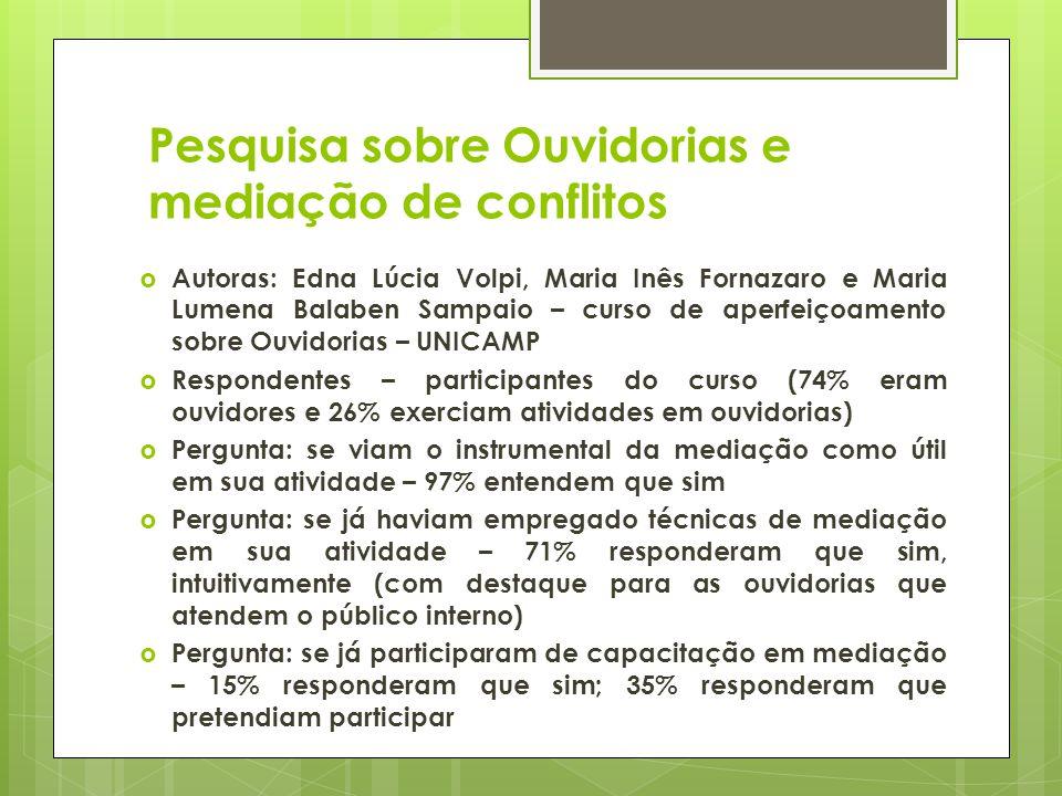 Pesquisa sobre Ouvidorias e mediação de conflitos Autoras: Edna Lúcia Volpi, Maria Inês Fornazaro e Maria Lumena Balaben Sampaio – curso de aperfeiçoa