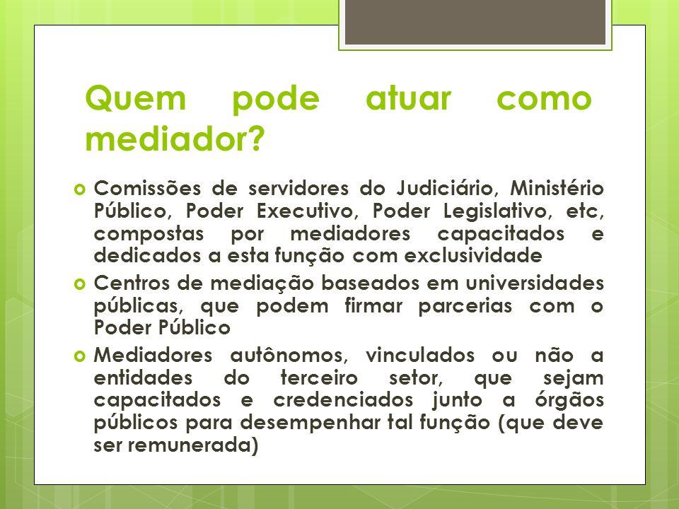 Quem pode atuar como mediador? Comissões de servidores do Judiciário, Ministério Público, Poder Executivo, Poder Legislativo, etc, compostas por media